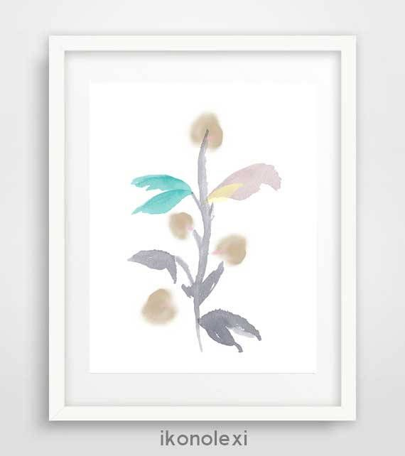 Flower Wall Art Poster, Printable Art, Floral Print, Watercolour Flower painting, Modern Minimalist, Nursery Wall Art, Affiche Scandinave by Ikonolexi on Etsy