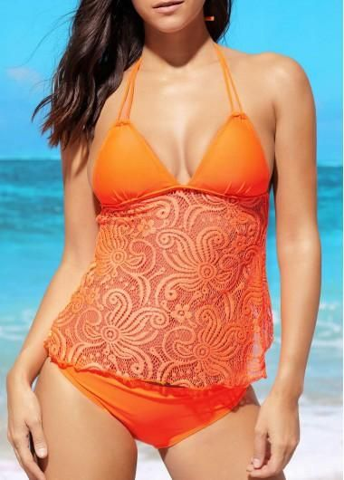 #rotita.com - #unsigned Lace Panel Orange Open Back Tankini Set - AdoreWe.com