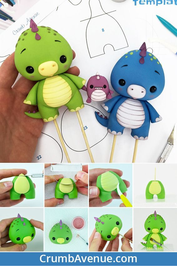 Baby Dino Cake Topper – PDF TUTORIAL with TEMPLATES