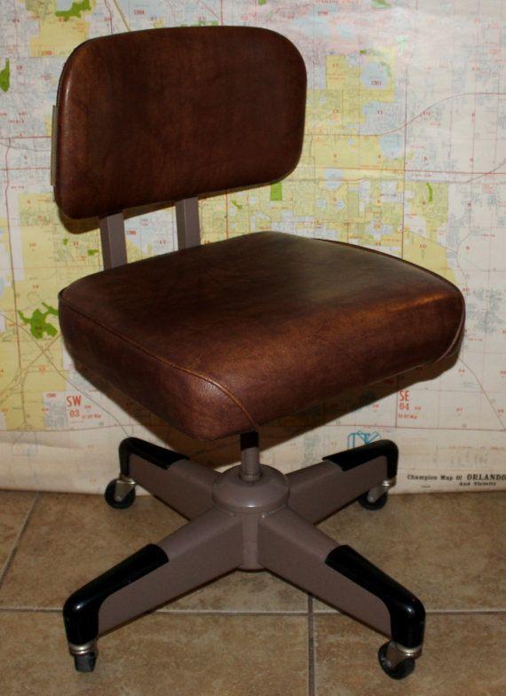 vintage office desk. Hon Industrial Tanker Vintage Office Chair Vinyl Upholstery Desk Task Ca. 1960s E