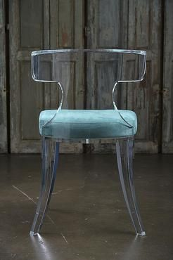 Veronica Acrylic DiningChair with Turquoise Passion Suede Upholstered Seat COM Available, Please Call For Pricing and Lead Time