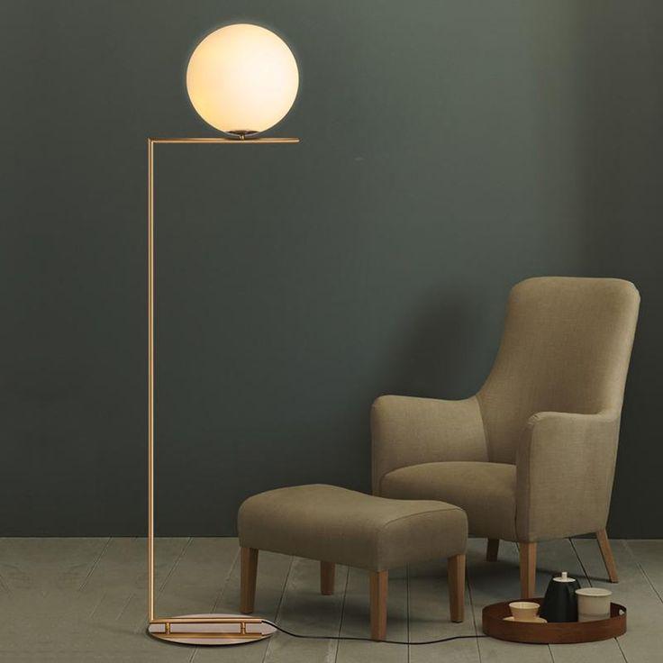 Nordic Glass Round Ball Floor Lamp Art Gold Body Stand Lamp Mebel