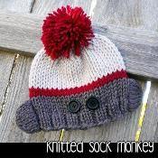 Knitted Sock Monkey Hat - via @Craftsy