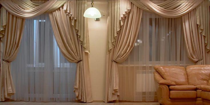 Фото — 39 Бежевые шторы для залы