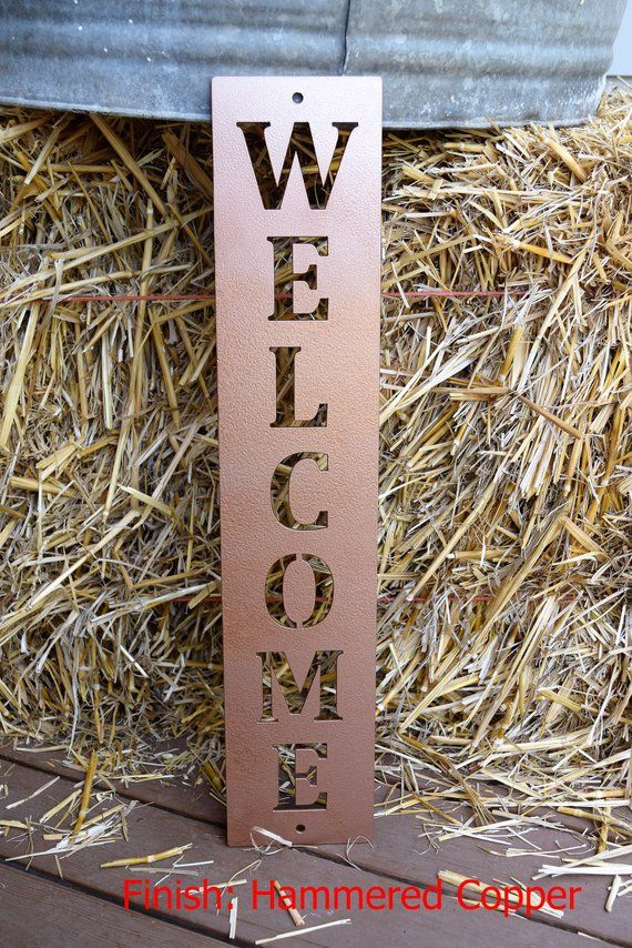 Vertical Metal Wall Art Part - 17: Vertical Metal Welcome Sign Metal Wall Art Monogram Metal | Etsy