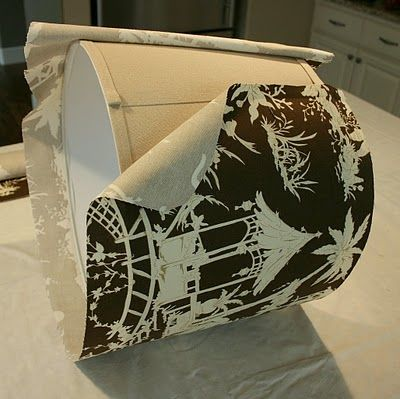 How to cover a lampshade with fabric and trim, including lots of photos.