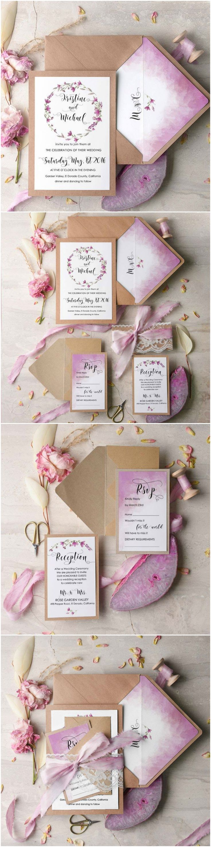 Ombre Watercolor Wedding Invitation with real lace
