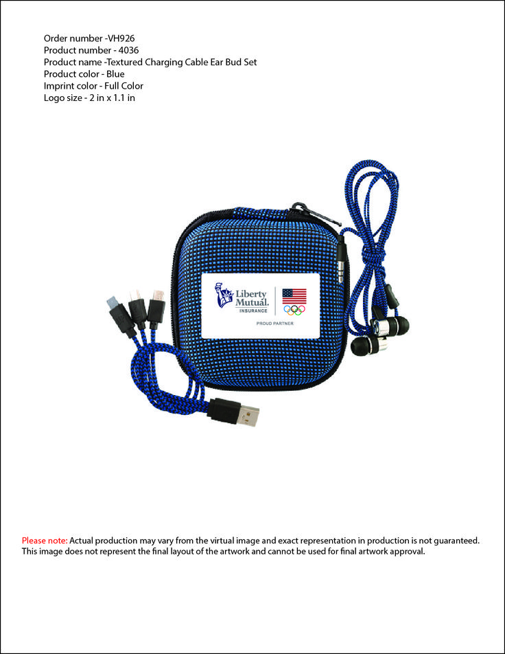 Blue Ear Bud case - with ear buds and charging cables ...