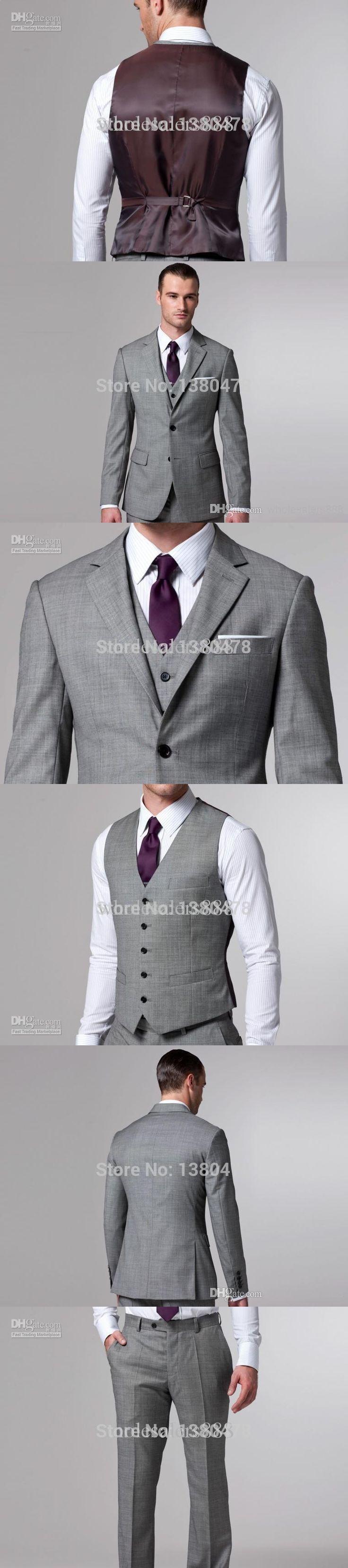 2016 - New Custom Design Notch Lapel Groom Tuxedos Wool Blend Best Man Suits (Jacket+Pants+Tie+Vest) G578