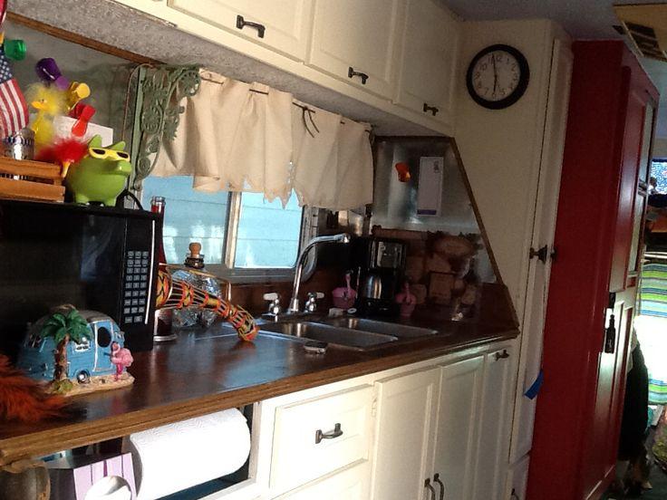 Kitchen of remodeled 1977 gmc class c rv rv travel for Camper trailer kitchen designs