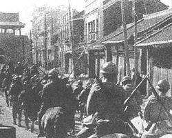 September 18, 1931 Japan stages the Mukden Incident as a pretext to occupy Manchuria Japanese troops entering Shenyang during Mukden Incident