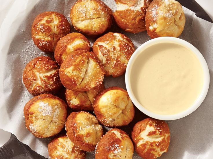Bavarian Pretzel Nibblers with Beer Cheese Sauce recipe  via Food Network