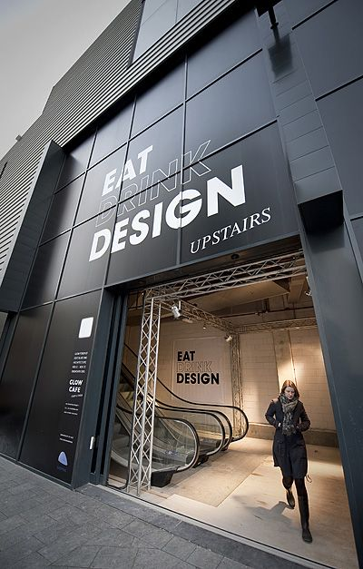 EAT DRINK DESIGN : Pop-up exhibition restaurant in a vacant movie theatre, furnished with work of (inter)national design talents.