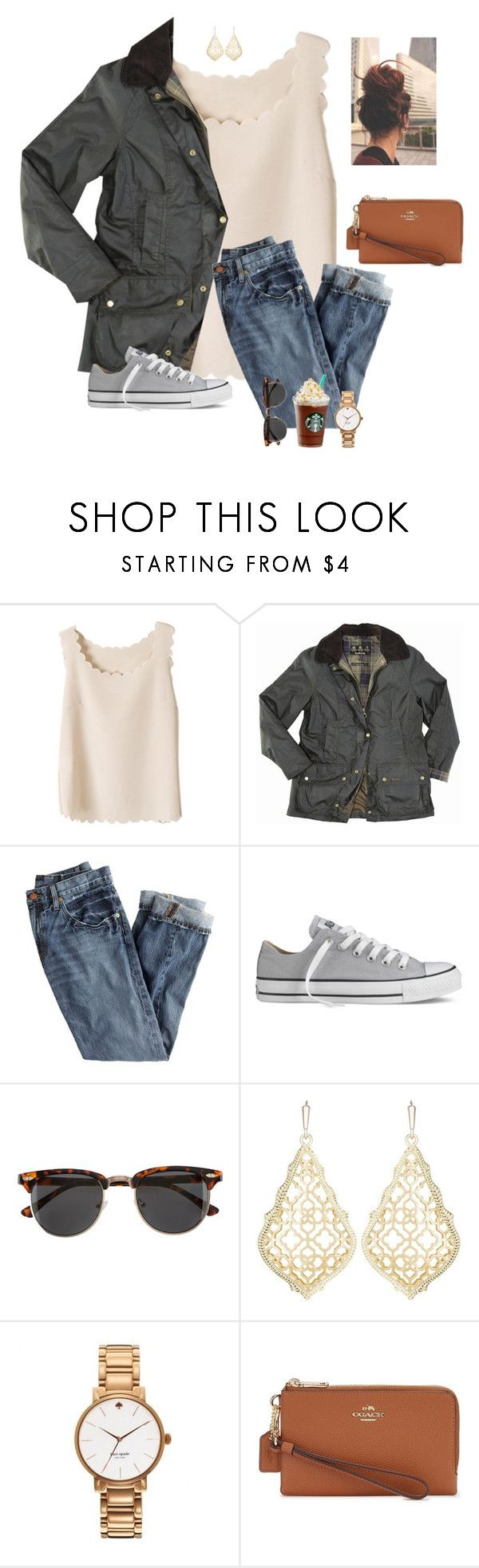 """Day 12/ I can't lift the weight no I can't lift the weight. You stand on my shoulders and my just breaks"" by raquate1232 ❤ liked on Polyvore featuring Barbour, J.Crew, Converse, H&M, Kendra Scott, Kate Spade, Coach and 15daysofShawnwKarina"