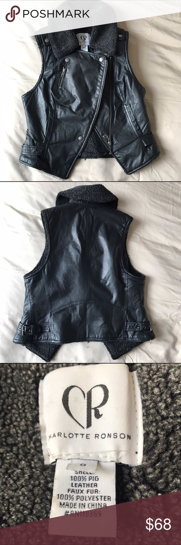 Charlotte Ronson Leather Moto Vest Faux Shearling Excellent moto vest, gently used. Genuine leather with faux Shearling lining. Very warm! Hardware is in excellent condition. It's the perfect layering piece. NOT ZARA but Charlotte Ronson. Tags: Acne, Zara, Vince, Theory, BB Dakota, Maje, Sandro. Better on 🅿️🅿️ or ♏️ Zara Jackets & Coats Vests