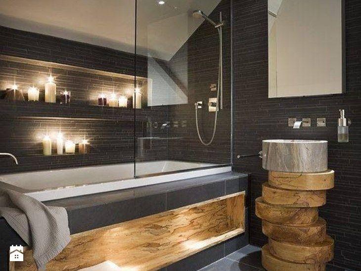 Ciemna strona łazienki - wersja tylko dla odważnych? - Średnia łazienka na poddaszu w domu jednorodzinnym bez okna - zdjęcie od MartaWieclawDesign