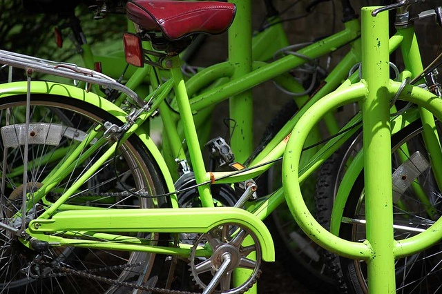 Lime green bicycles