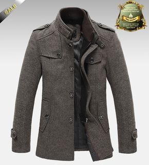 New Style Autumn and Winter Jackets For Men Splice Wool Jacket men's slim fit…