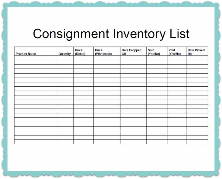 Inventory List. Inventory List Form - Inventory Control List Ms