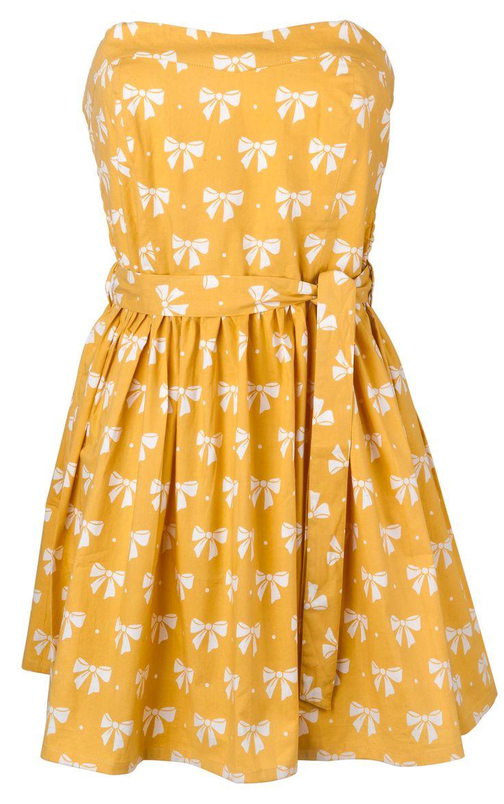 BOW PRINT 60'S FLIPPY DRESS