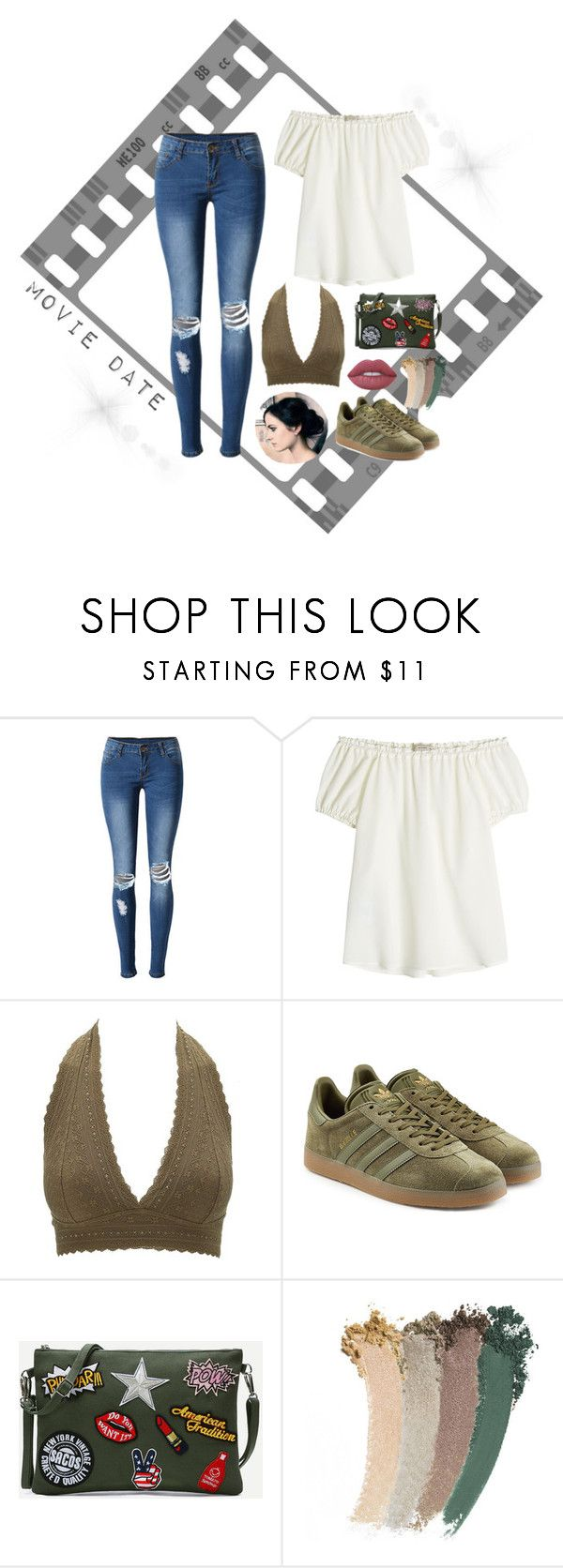 """Movie Date Outfit"" by gretcheng02 on Polyvore featuring WithChic, Etro, Charlotte Russe, adidas Originals, Gucci, Lime Crime, date, movie, olive and casualoutfit"