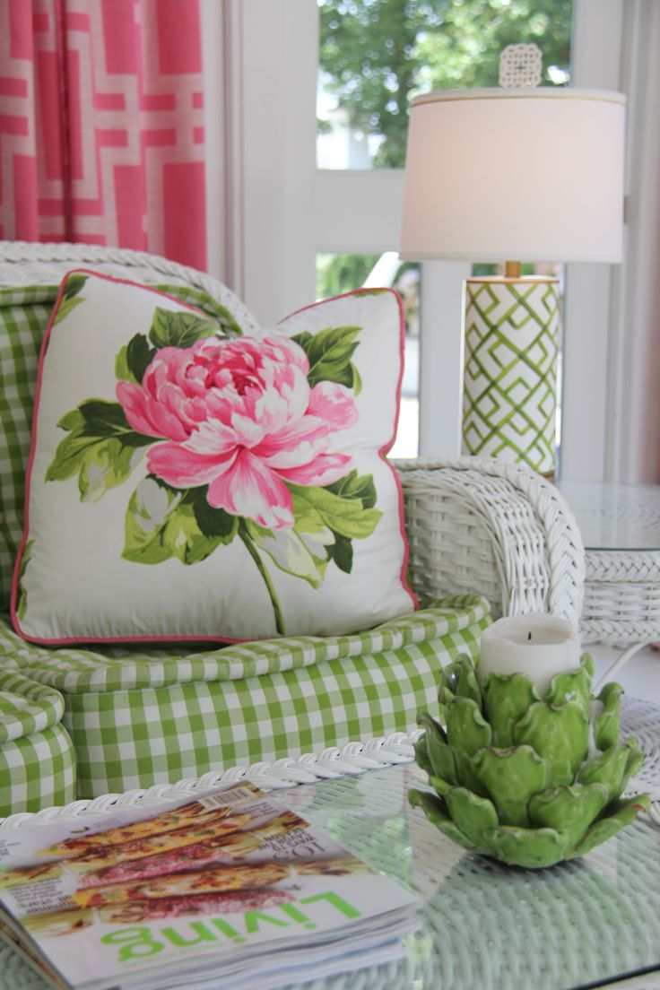 Porch, white wicker, pink and green.  Kimberly McCluskey Design Services.                                                                                                                                                                                 More