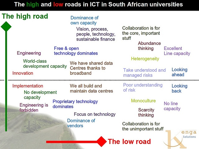 The high and low roads in ICTs in South African universities by Derek Keats, via Flickr (replacement image, the original had an error)
