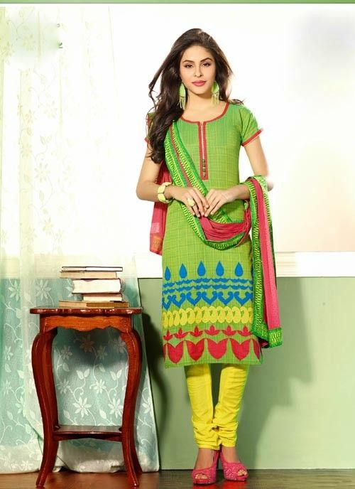 Splendid Green & Pink Chiffon Based #Salwar #Suit With Applique Work #churidarsuits #ethnicwear #womenapparel #womenfashion
