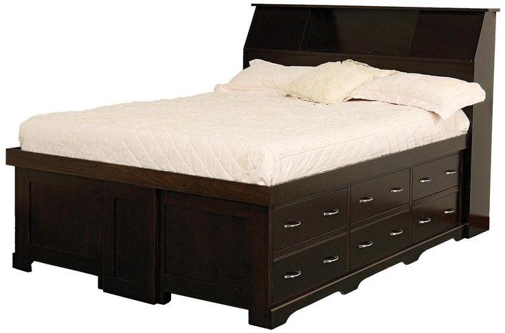 "Amish Elegance Full Pedestal Bed W/ 60"" Storage Drawer on Each Side by Daniel's Amish | Wolf Furniture"