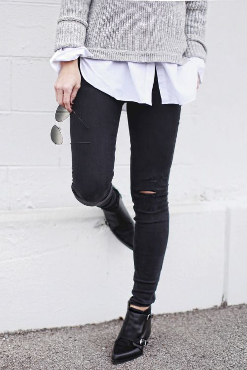 I feel like I see this look all over SF everyday. And that's ok. Gray sweater layered over a white button front shirt, back to a distressed skinny leg black jean, black buckle detail ankle boot and aviator sunglasses. Hey, it works.