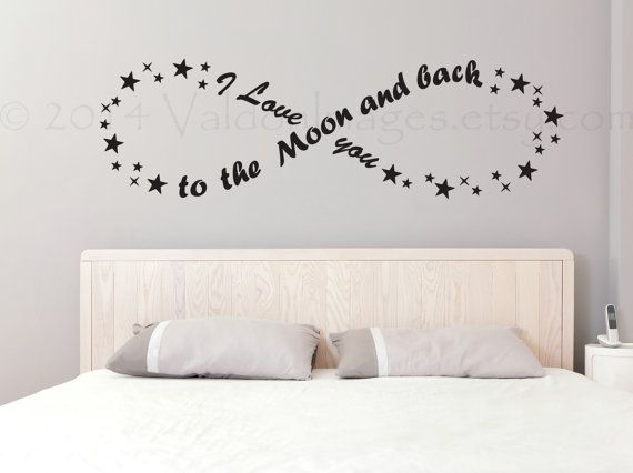 I love you to the moon and back infinity wall decal, wall sticker, decal, wall graphic, bedroom decal, vinyl decal, vinyl graphic decal on Etsy, $28.00