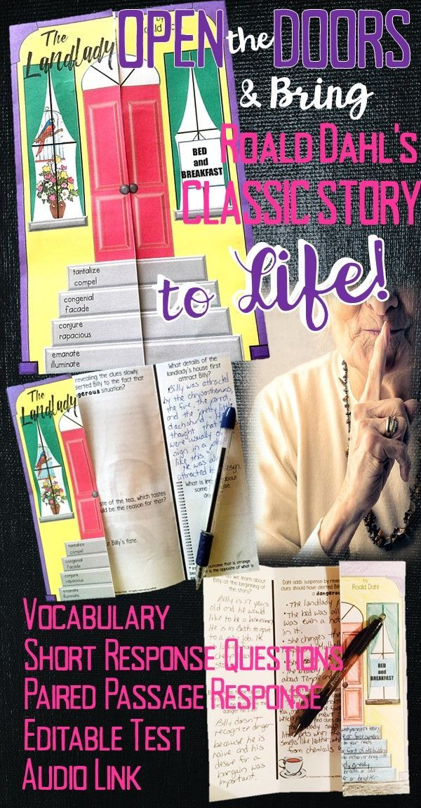 "Roald Dahl's ""The Landlady"" is a classic short story that will come alive for your students when you use this folding door worksheet and editable test! Best yet, no glue is needed. Students will enjoy the story's suspense, and their critical thinking skills will get a good workout while reading and answering the questions for this four-day activity."