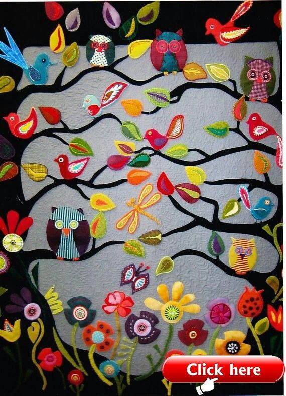 Wool Felt Applique Wall Hanging Wool Diy Wool Applique Quilts Applique Quilt Patterns Applique Quilts