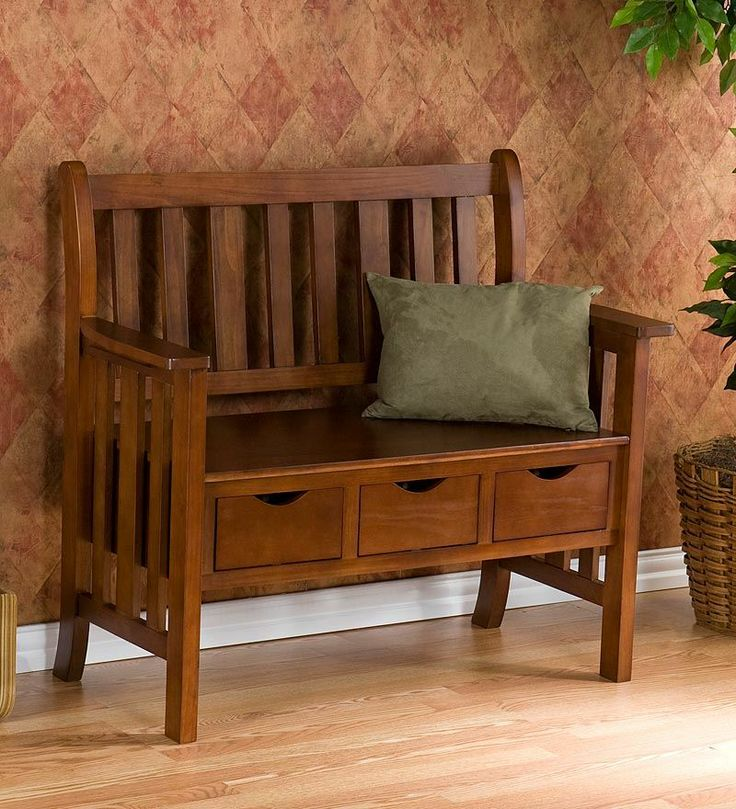 Mission Style 3 Drawer Country Storage Entryway Bench