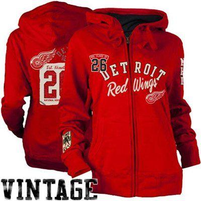 Old Time Hockey Detroit Red Wings Ladies Nadine Full Zip Hoodie - Red