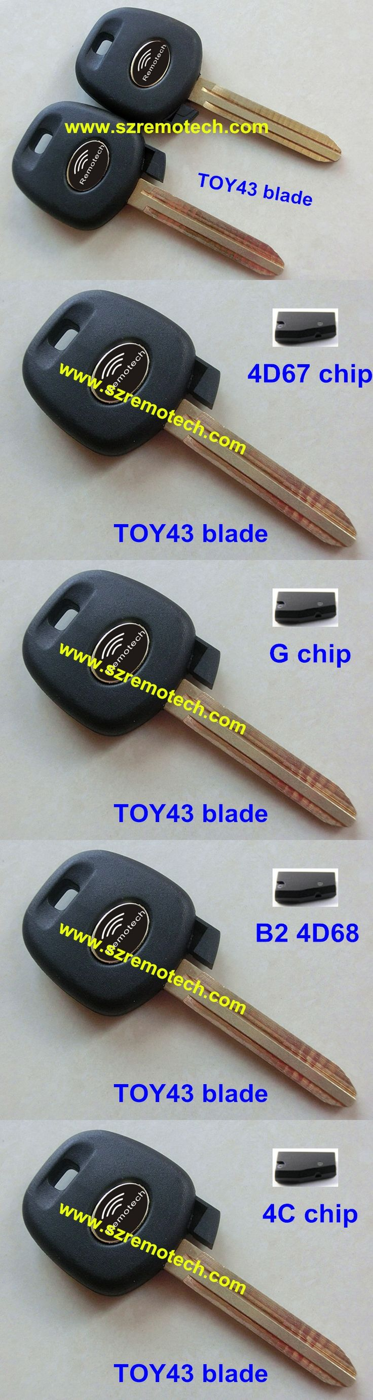RMLKS Replacement Transponder Key Fob With 4C/4D67/4D68/G Chip TOY43 Blade Fit For Toyota Camry Corolla 4D67 Chip Key Fob