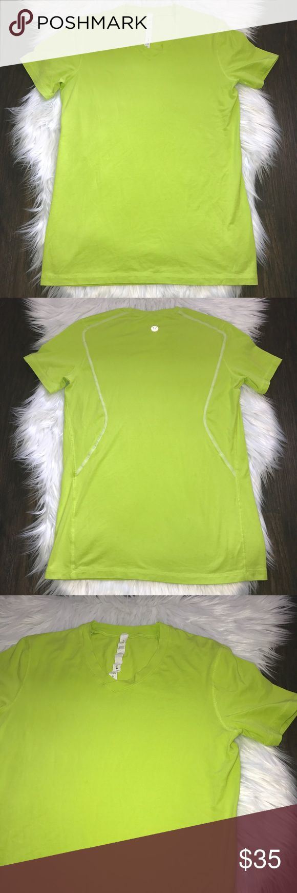 "Lululemon Men's Lime Green Short Sleeve Shirt This nice men's Lululemon shirt is in great condition. No visible flaws Guaranteed authentic- reflective logo shown in photos.  It is a slightly older style with the octagon logo Size small Armpit to armpit: 18"" Total length: 28"" Smoke/pet free home lululemon athletica Shirts Tees - Short Sleeve"