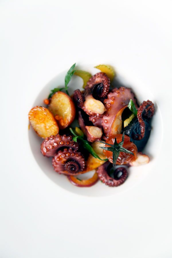 Octopus Salad : Roasted Tomato. Potato. Red Onion. Celery. Garlic. Sea Salt Capers. Lemon. Chili Oil