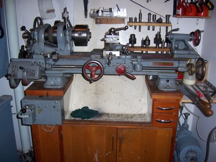 """Modifications to SB9 Lathe by CrashedAgain -- Homemade modifications to SB9 lathe including a tailstock lever clamp, a leadscrew handwheel and index dial, t-slotted cross slide, turret toolpost, carriage stop dial indicator holder, QC gearbox from 10"""" Atlas, belt drive change gear reduction, 1/2 HP 2-speed motor providing a total of 12 speeds, spindle index latch, and a deep tray mounting stand. http://www.homemadetools.net/homemade-modifications-to-sb9-lathe"""