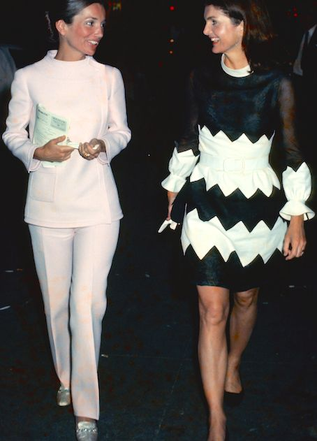 Lee Radziwill and Jackie Onassis at the Alvin Theatre in New York, 1970