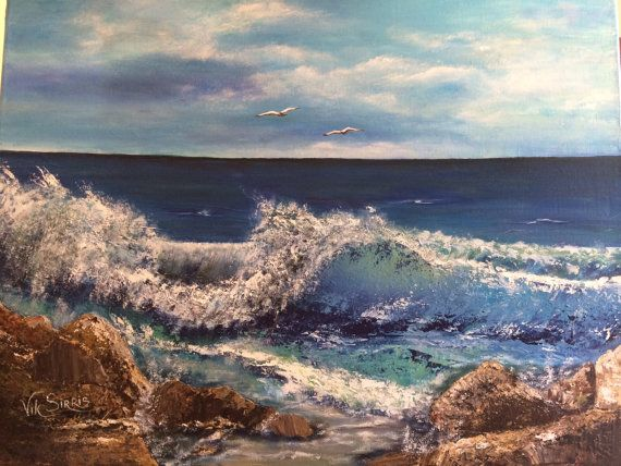 Mediterranean Sea. Acrylic paint. Pallet knife. Size 18x24 collectible decorative item holiday birthday gift woman Easter original canvas