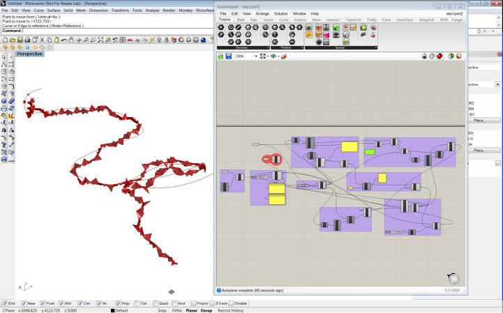 diffusion-limited-aggregation, minimum path, growth - Grasshopper