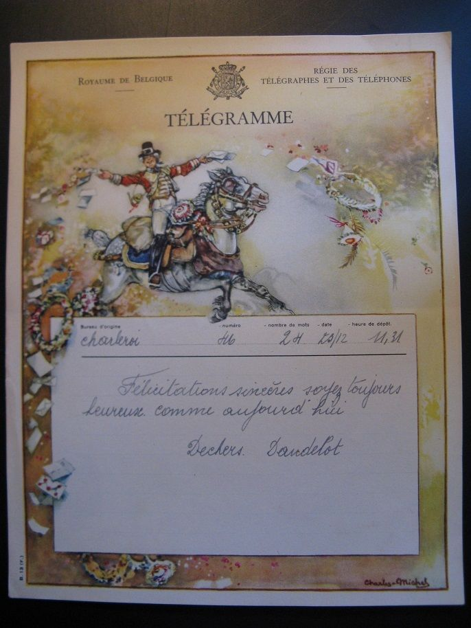 Antique 1947 Original Old Lithograph Telegram  Royal De Belgique..
