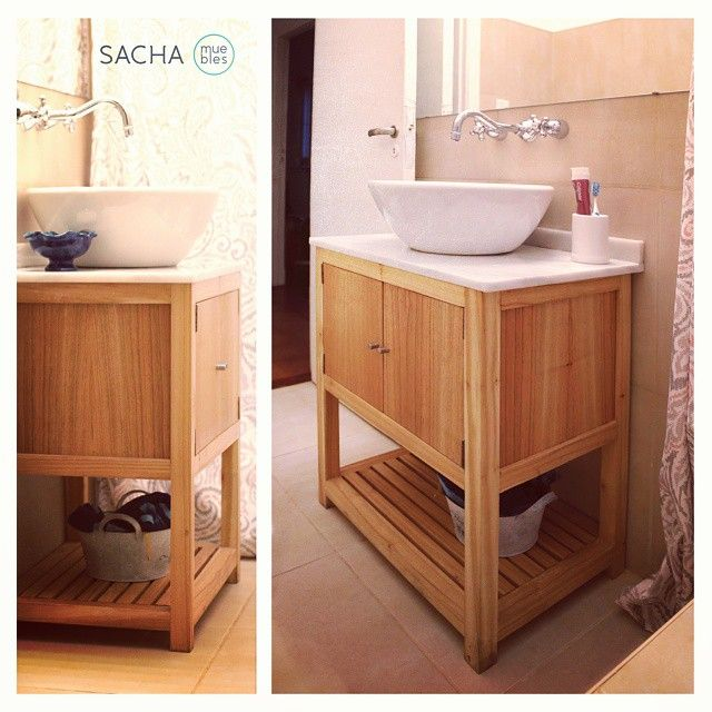 15 best vessel sink vanities images on pinterest for Muebles blancos y madera