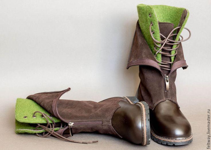 Купить Ботинки войлок кожа зеленый коричневый - коричневый, обувь ручной работы, обувь на заказ