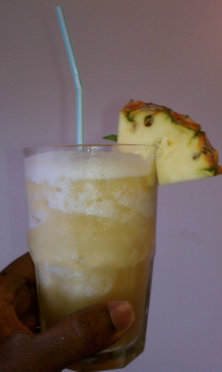 Pineapple Ginger float with appleton rum and ginger beer
