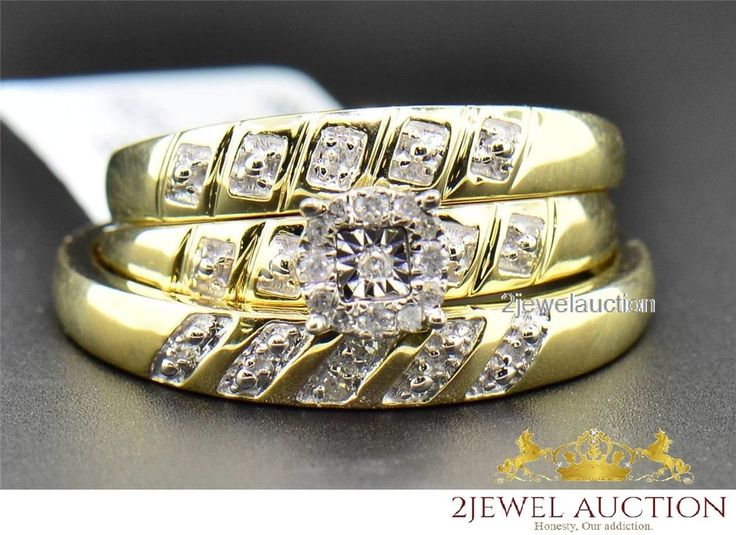 Real Diamond Trio Set His Hers Matching Engagement Ring Wedding Band Yellow Gold