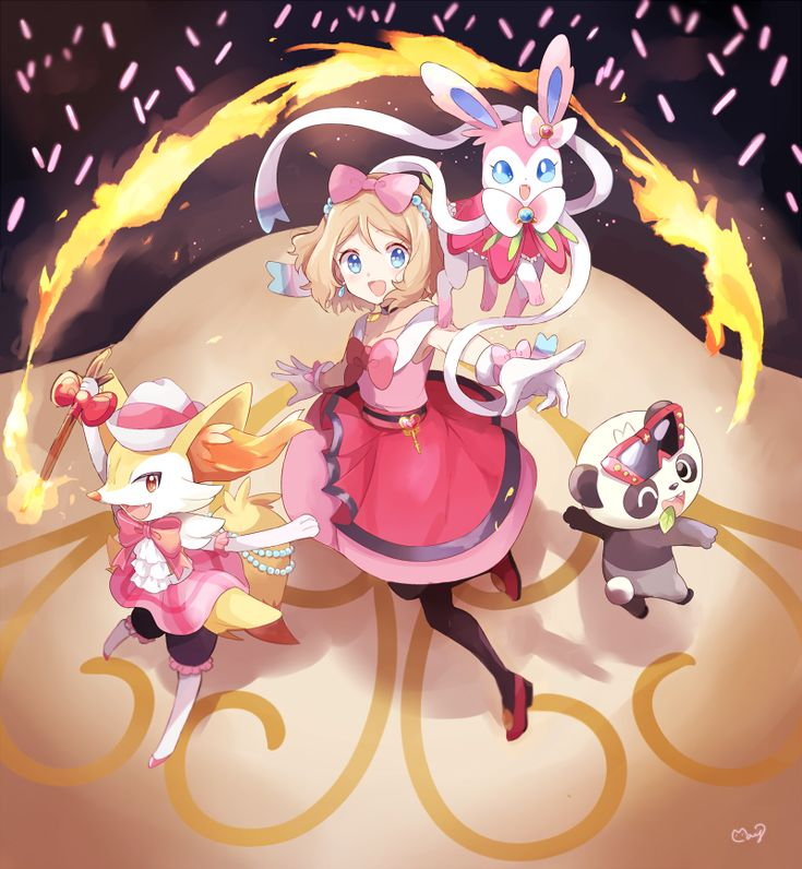 Pokémon - Serena and her Braixen, Pancham and Sylveon