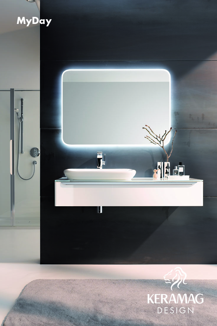 The myDay collection's lay on basin and furniture. Find more at: http://www.keramagdesign.com/