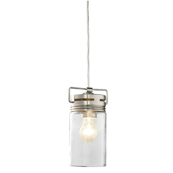 allen + roth Vallymede 4.41-in Brushed Nickel Barn Mini Clear Glass Jar Pendant  Brushed nickel finish mini pendant from the Vallymede collectionIncludes